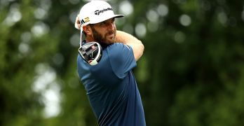 AKRON, OH - JULY 03:  Dustin Johnson hits off the fourth tee during the final round of the World Golf Championships - Bridgestone Invitational at Firestone Country Club South Course on July 3, 2016 in Akron, Ohio.  (Photo by Mike Lawrie/Getty Images)