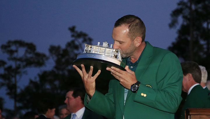 Sergio Garcia of Spain kisses a replica of the Masters Tournament Trophy after the final round of the Masters at Augusta National Golf Club, Sunday, April 9, 2017. during the final round of the Masters at Augusta National Golf Club, Sunday, April 9, 2017.